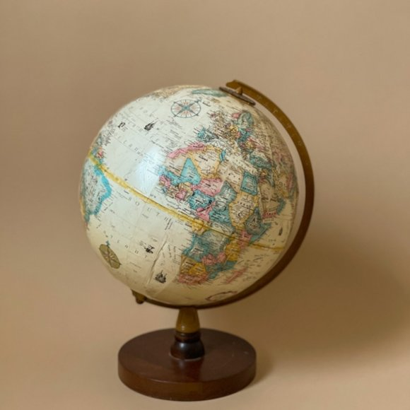 Vintage 80s Replogle World Globe Eclectic Map wood